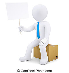 3d man sitting on a cardboard box
