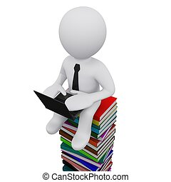 3D man sitting on a pile of books