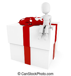 3d man sitting on a present box