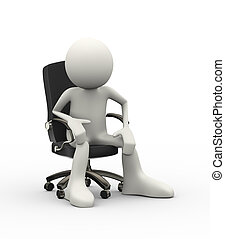 3d man sitting on chair