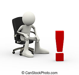 3d man sitting on chair and exclamation mark - 3d...