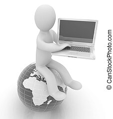 3d man sitting on earth and working at his laptop on a white...