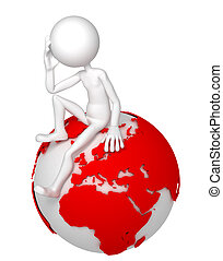 3d man sitting on Earth globe in a thoughtful pose. European and African side. Isolated white background