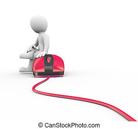 3d man sitting on red mouse device