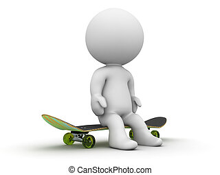 3D Man Sitting on Skateboard - A 3d guy sitting resting on a...