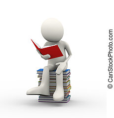 3d man sitting on stacks of books reading book