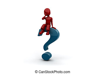 3d man sitting on the question mark