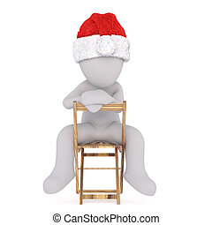 3d man sitting relaxing on a folded chair