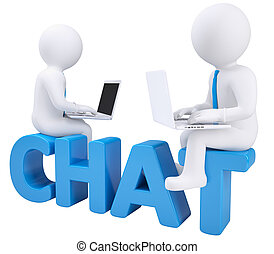 3d man sitting with a laptop on the word chat. Isolated render on white background