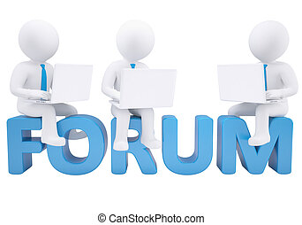 3d man sitting with a laptop on the word forum. Isolated render on white background
