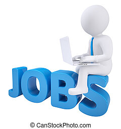 3d man sitting with a laptop on the word jobs