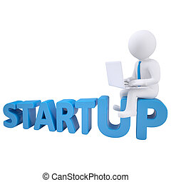 3d man sitting with a laptop on the word startup