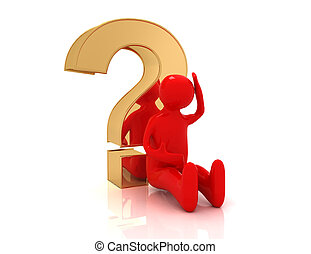 3d man sitting with question mark