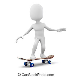 3d man skateboarder on white background