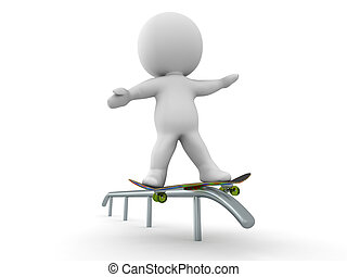 3D Man Skateboarding Rail Grind Tri - 3D guy doing a...