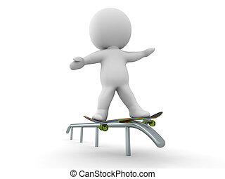 3D Man Skateboarding Rail Grind Tri - 3D guy doing a ...