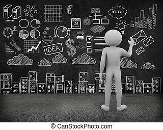 3d man sketching business drawing on wall