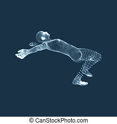 3d Man Slipping and Falling. Silhouette of a Man Fallen Down. 3D Model of Man.