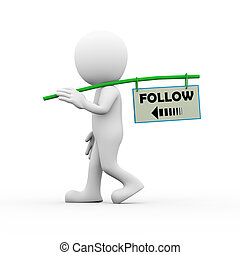 3d man social network and following concept