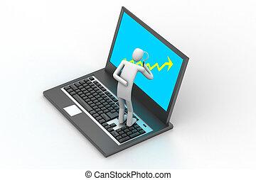 3d man standing a laptop