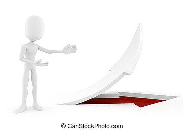 3d man standing near an arrow pointing up!