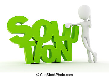 3d man standing near SOLUTION text, on white background