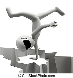 3d man standing on one hand. 3d image. On a white background