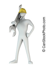 3d man standing with a wrench