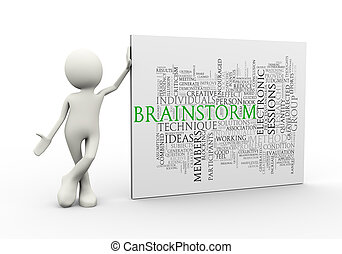 3d man standing with brainstorm wordcloud word tags