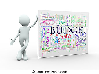 3d man standing with budgt wordcloud word tags