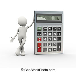 3d man standing with calculator