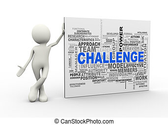 3d man standing with challenge wordcloud word tags