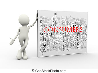 3d man standing with consumers wordcloud word tags