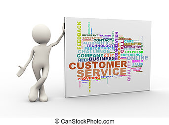3d man standing with customer service wordcloud word tags