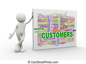 3d man standing with customer wordcloud word tags