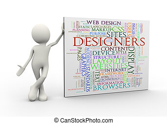 3d man standing with designers wordcloud word tags