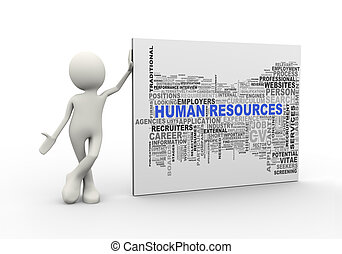3d man standing with human resource