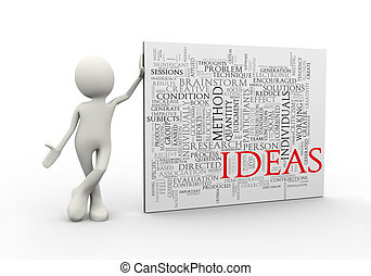 3d man standing with ideas wordcloud word tags