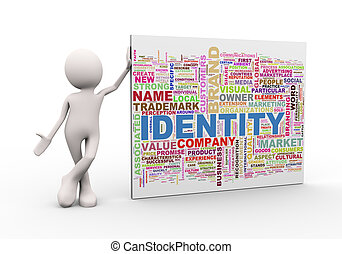 3d man standing with identity wordcloud word tags