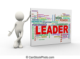 3d man standing with leader wordcloud word tags