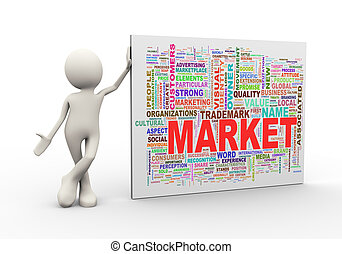 3d man standing with market wordcloud word tags - 3d ...