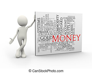 3d man standing with money wordcloud word tags