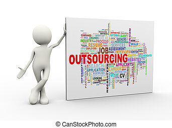 3d man standing with outsourcing wordcloud word tags