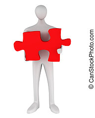 3d man standing with puzzle on a white background