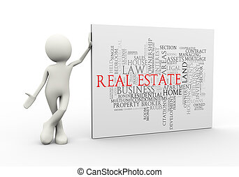 3d man standing with real estate wordcloud word tags