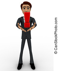 3d man standing with red exclamation mark in hand concept