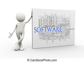 3d man standing with software wordcloud word tags
