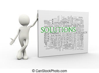 3d man standing with solution wordcloud word tags