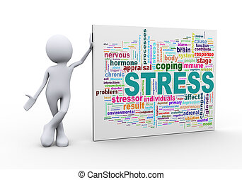 3d man standing with stress wordcloud word tags