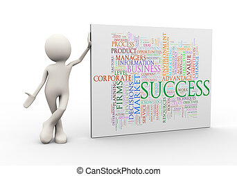 3d man standing with success wordcloud word tags